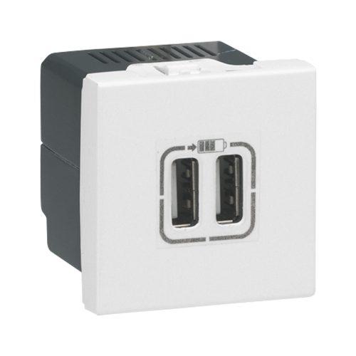 Priza de încarcare USB dublă Mosaic 5V, 1500 mA, 2 module, alb