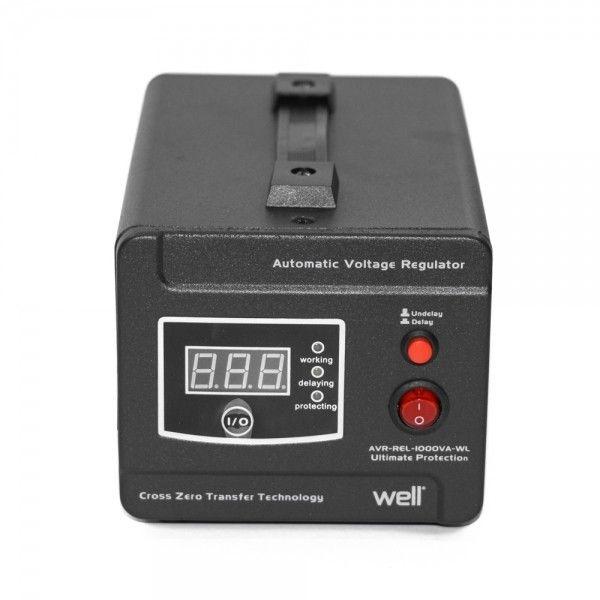 •Stabilizator de tensiune cu transformator, 600W, Negru, Well